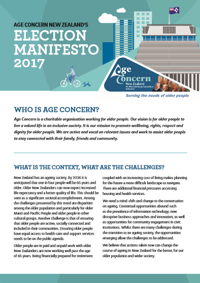 Age Concern Election Manifesto 2017